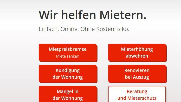 Screenshot von wenigermiete.de: Der BGH stärkte die Rechte der Mieter, die Legal-Techs wie dieses nutzen.