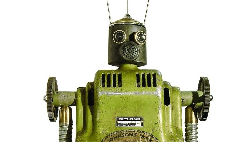 Roboterskulptur des amerikanischen Künstlers Gordon Bennett aus der Serie Robot Works