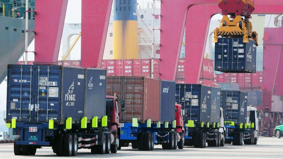Hafen in Qingdao/China: Zuletzt Belebung im Außenhandel des asiatischen Riesenreichs