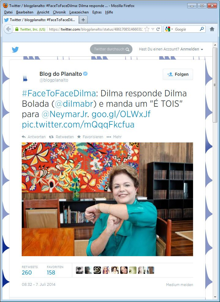 SCREENSHOT Dilma Rousseff WM; Twitter