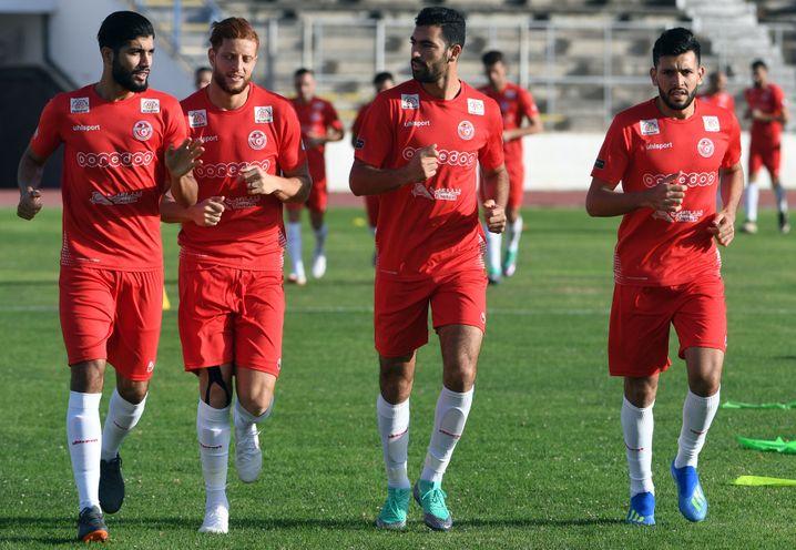 Tunesische Spieler beim Training