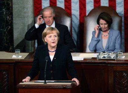 """""""Wir brauchen eine Einigung bei der Weltklimakonferenz in Kopenhagen"""": Kanzlerin Merkel vor dem US-Kongress"""