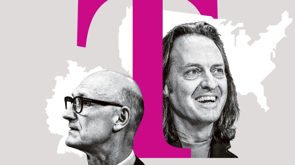 Hierarchisch steht der eine (Tim Höttges, links) über dem anderen (John Legere, rechts). Bei der Bezahlung ist es genau andersherum.