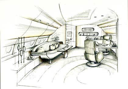 Ein Besprechungszimmer im VVIP A380: Gerundete Formen vom Sofa bis zum Buchregal
