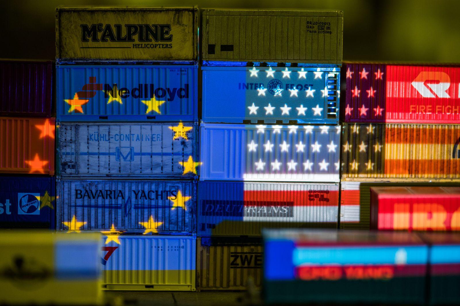 Die Flaggen von Europa und den USA