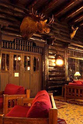 El Tovar Lodge: Lobby mit ausgestopftem Elchkopf
