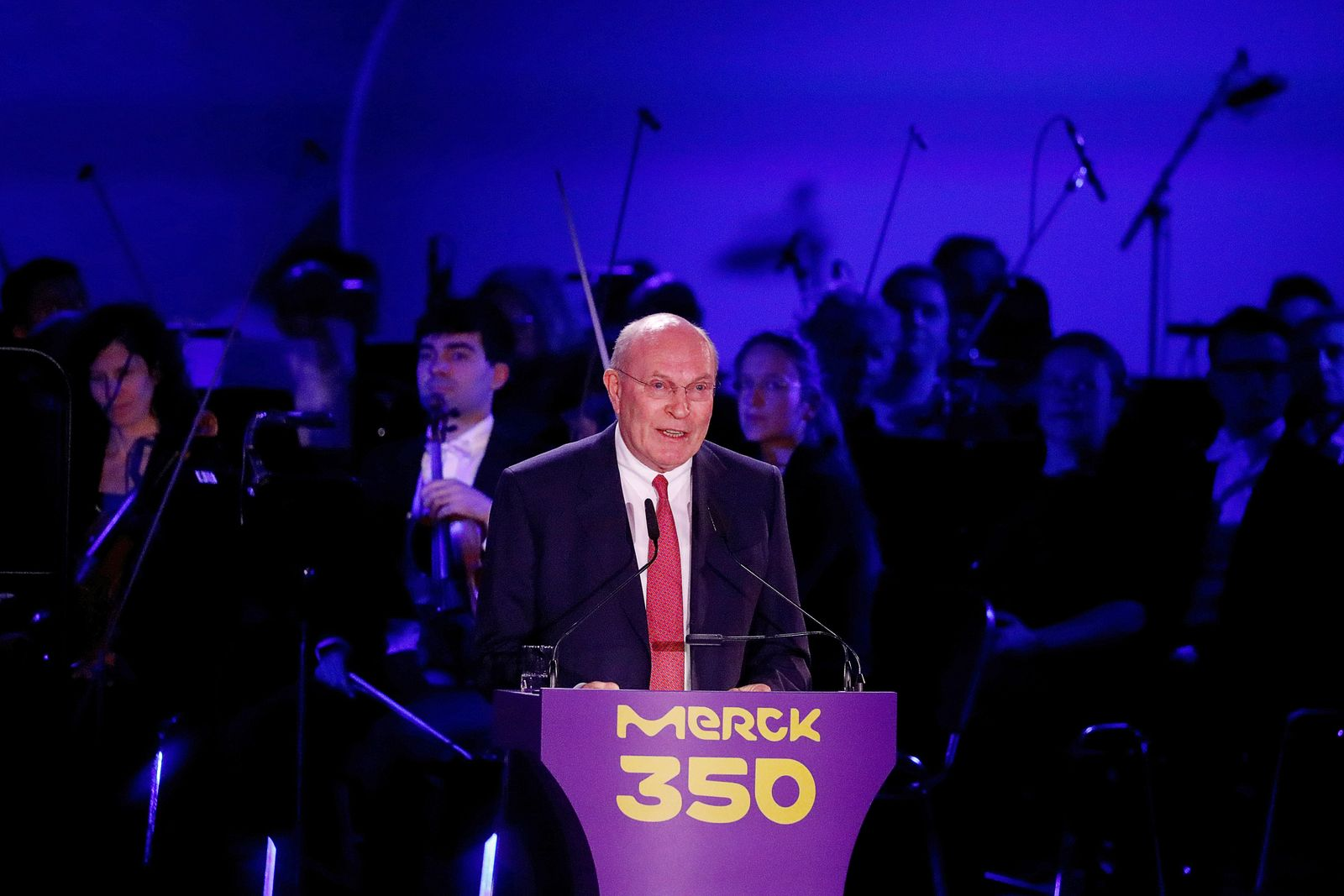 Frank Stangenberg-Haverkamp, Merck's Executive Board chairman, delivers a speech during the celebrations of the 350th anniversary of German pharmaceuticals company Merck, in Darmstadt