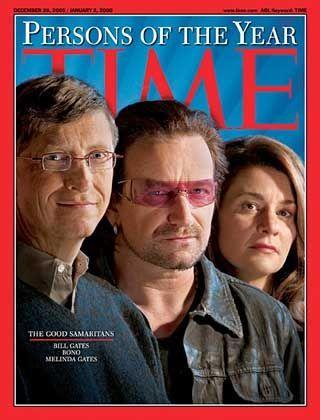 """Gute Samariter: Bono, Bill und Melinda Gates wurden wegen ihrer guten Taten vom """"Time Magazine"""" zur den Personen des Jahres 2005 ernannt"""