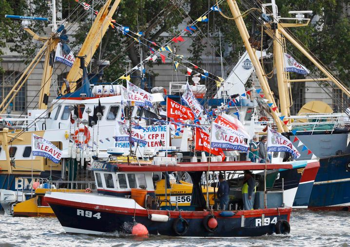 Ausgerechnet sie könnten den eigenen Marktschutz aushebeln: Fischerboote auf Protestfahrt für den Brexit in London