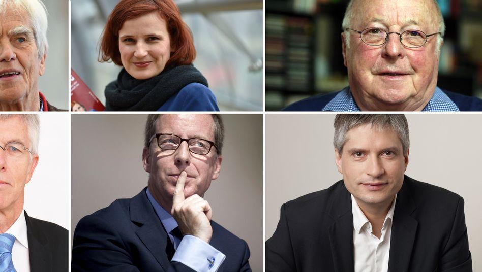 Grüner Ströbele, Linke Kipping, Ex-Minister Blüm, Grüner Giegold, Ökonom Hüther, Ökonom Straubhaar