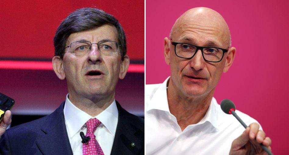 Im Clinch: Vodafone-Chef Colao Hoettges (l.) und Telekom-CEO Höttges