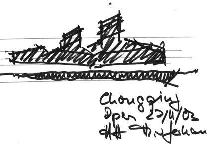 Unverkennbare Handschrift: Architekturskizze für das Grand Theater Chongqing