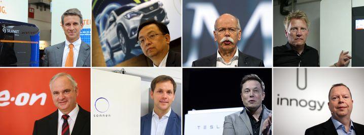 Sehen Chancen im Batterie-Geschäft: Stefan Quandt (Solarwatt, o.l., im Uhrzeigersinn), Wang Chuanfu (BYD), Dieter Zetsche (Daimler), Elon Musk (Tesla), Philipp Schröder (Sonnen), Johannes Teyssen (Eon)