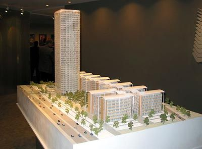 Uptown München: Modell des Gebäudekomplexes