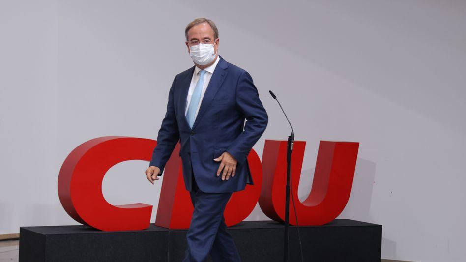 Abgang: Noch-CDU-Chef Armin Laschet nach seiner Erklärung in der Parteizentrale am Donnerstag