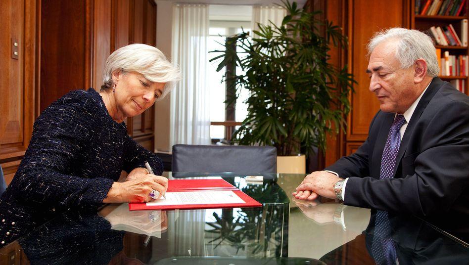 Kandidatin und Ex-Chef: Die französische Finanzministerin Christine Lagarde könnte dem zurückgetrenen Dominique Strauss-Kahn auf dem IWF-Chefposten nachfolgen