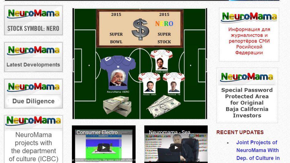 """""""Superaktie"""": Screenshot von Neuromama mit Albert Einstein als Werbefigur. Die in Nevada registrierte Firma ist an der Börse derzeit noch 35 Milliarden Dollar wert - und keiner weiß, warum eigentlich"""