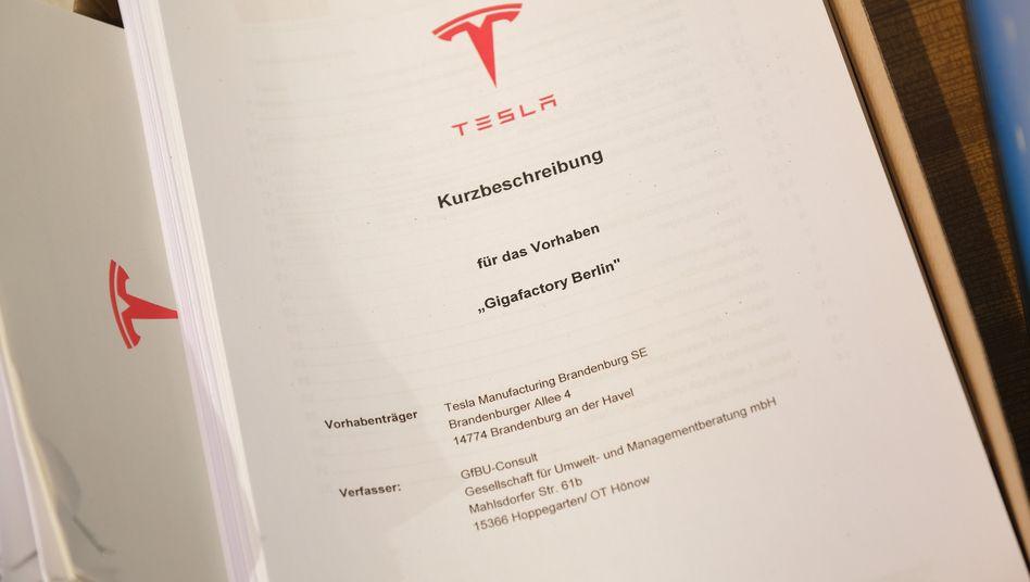Kurzbeschreibung von Teslas Antrag zur Baugenehmigung für sein Werk im brandenburgischen Grünheide