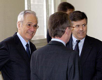 Angeklagte unter sich: Joachim Funk, Klaus Esser und Josef Ackermann