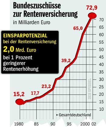 Bundeszuschüsse an die Rentenkasse: Mehr als 80 Milliarden Euro im Jahr 2006