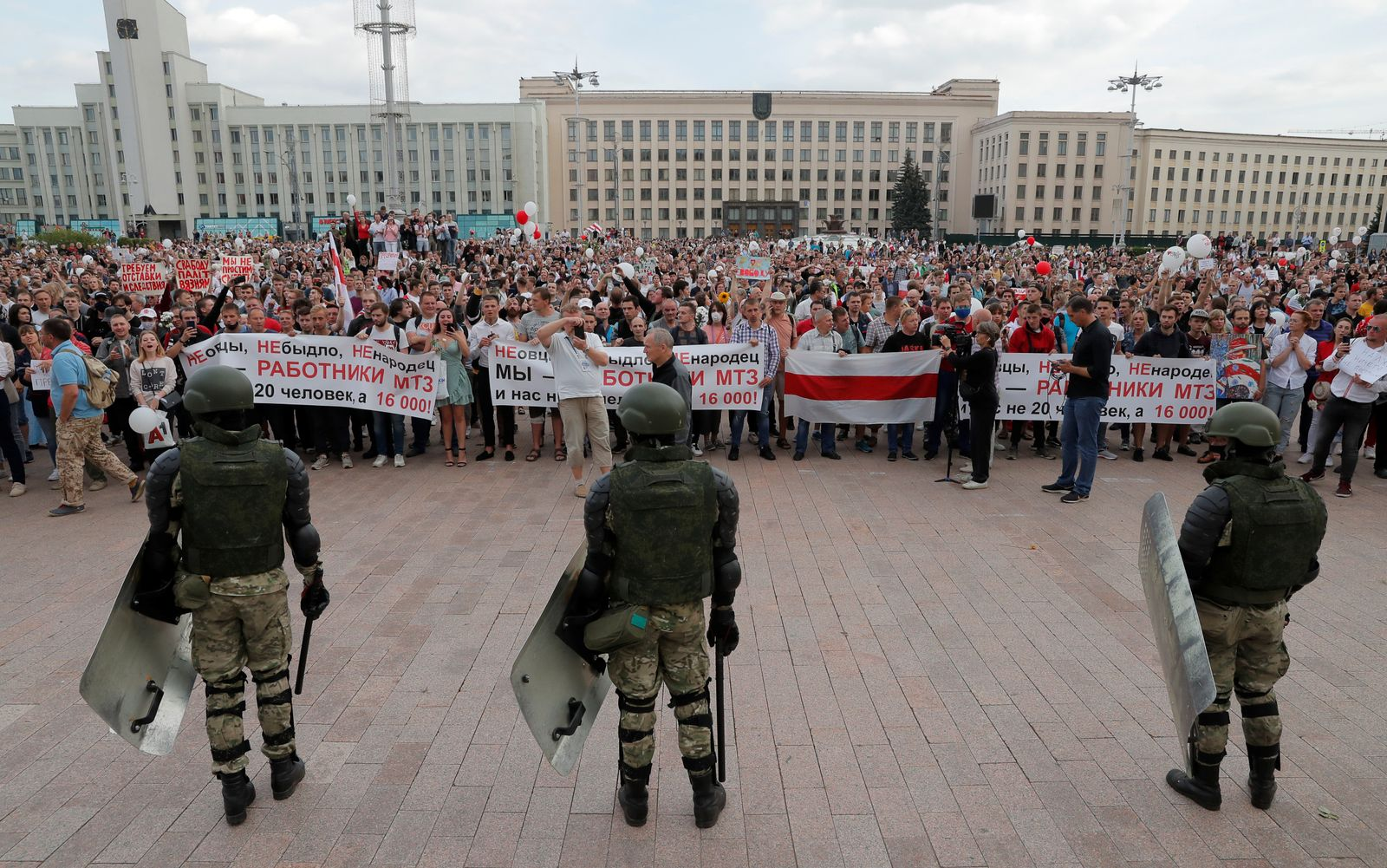 Opposition supporters protest against presidential election results in Minsk