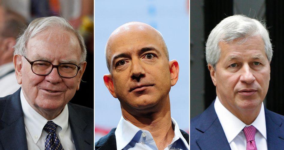 Konzernlenker Buffett, Bezos und Dimon (v. l.): Nicht bereit, Probleme hinzunehmen.