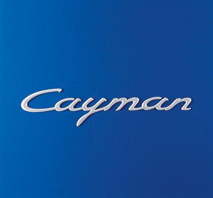 Schriftzug im Porsche-Stil: Cayman