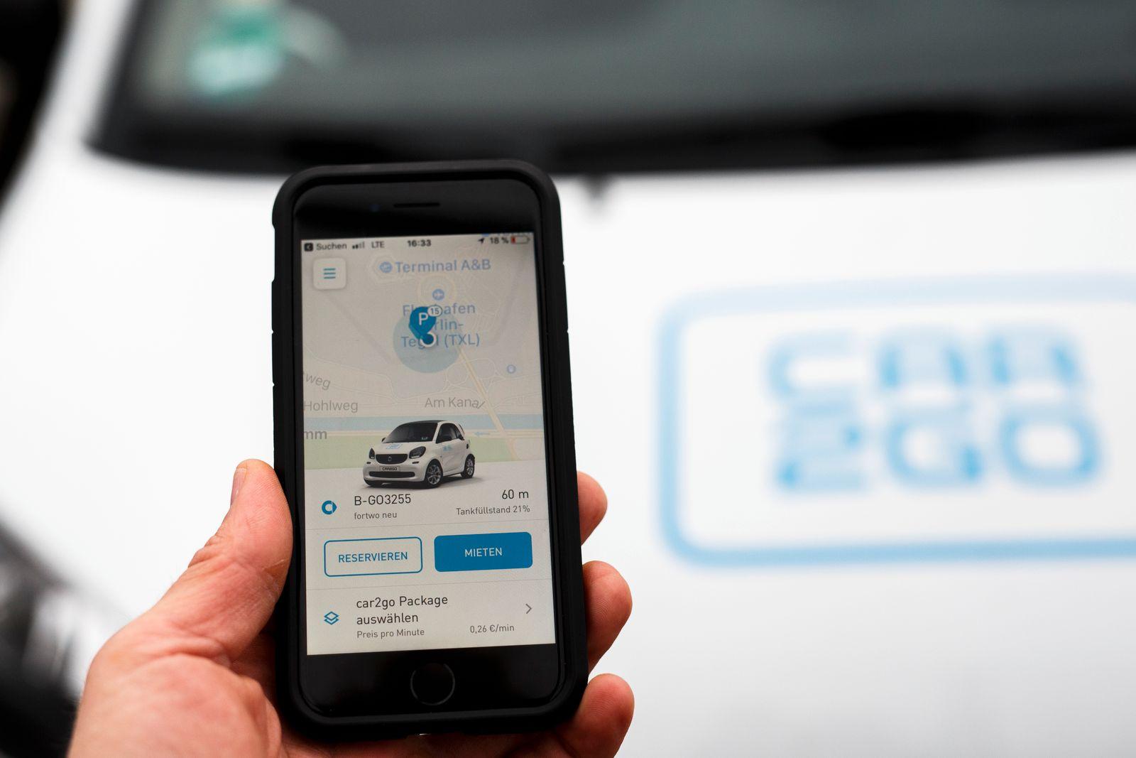 Car2Go App auf dem Smarphone