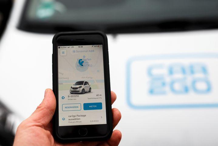 Car2go-App auf dem Smartphone