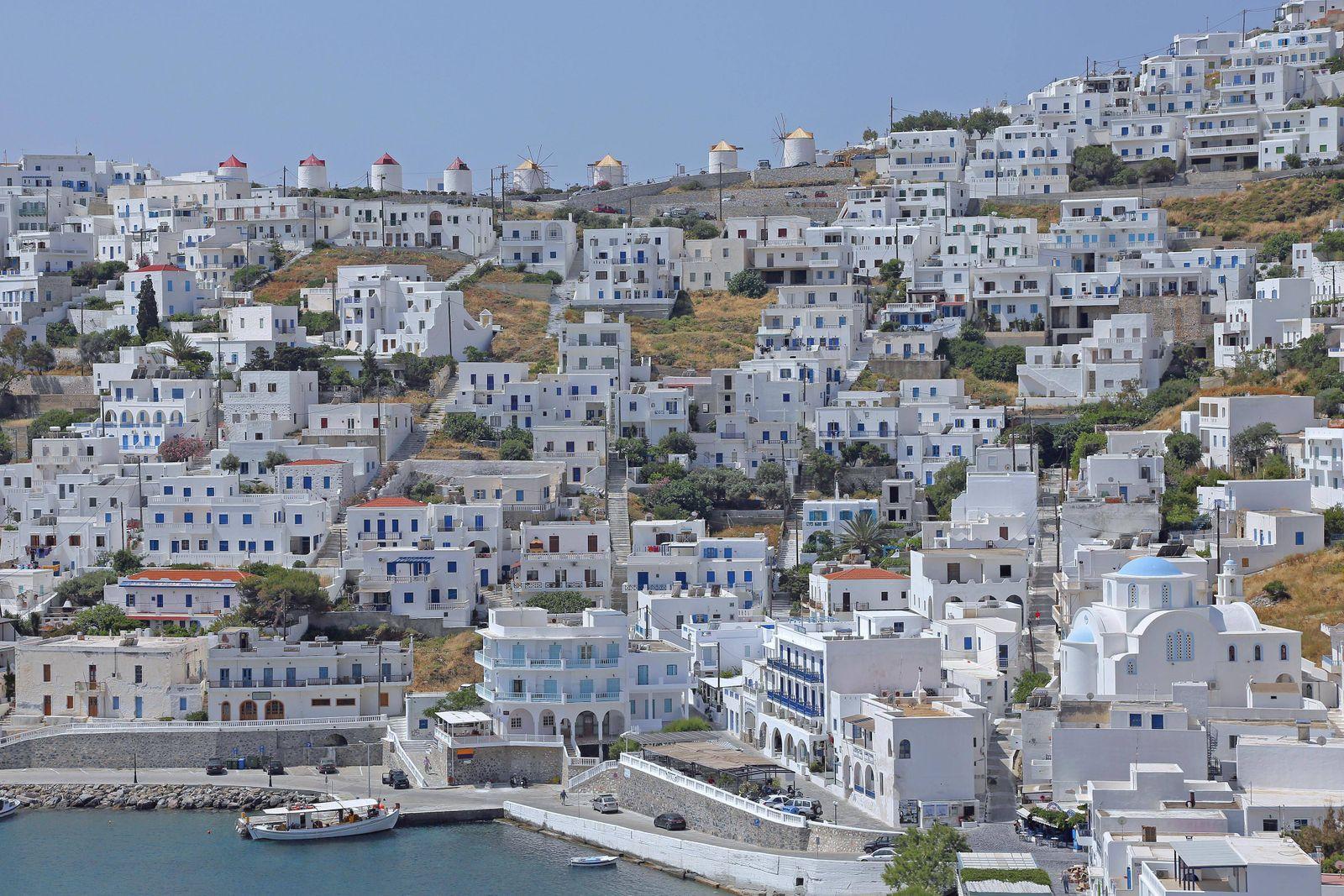 overlooking the picturesque village of chora on the island of astypalea greece PUBLICATIONxINxGERxSU