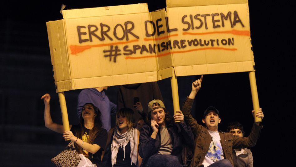 Protest in Madrid: Die jungen Spanier sehen den Fehler im System