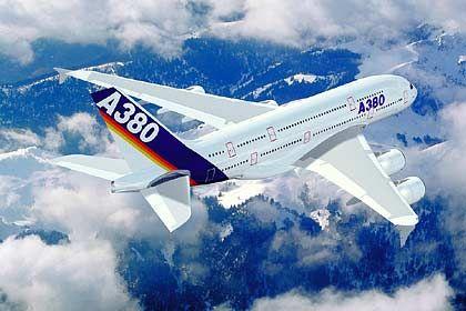 Rekord-Spannweite: Von Flügelspitze zu Flügelspitze misst der A380 knapp 80 Meter