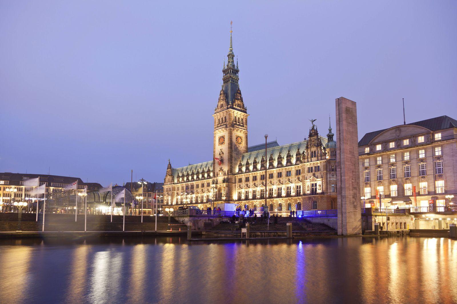 EINMALIGE VERWENDUNG Rathaus Hamburg / Stadtansicht
