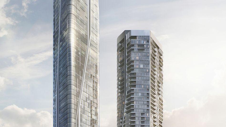 "Modell des Tower ""T1"" in Frankfurt: Der 233 Meter hohe Büroturm soll bis 2024 nahe der Commerzbank-Zentrale (259 Meter) entstehen"