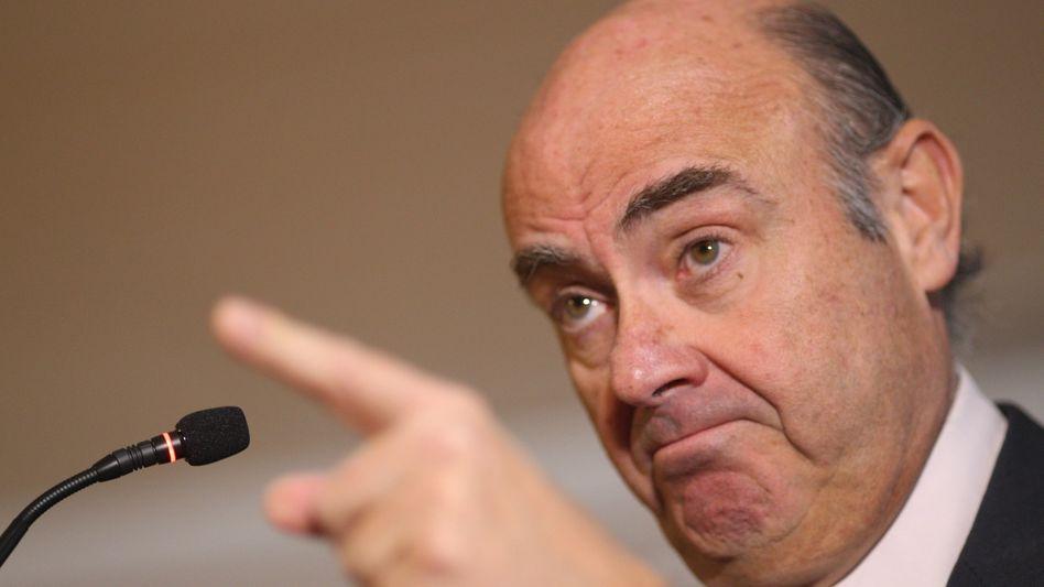 Wird wohl neuer EZB-Vize: Luis de Guindos, hier noch als spanischer Wirtschaftsminister bei einer Pressekonferenz Anfang Februar.