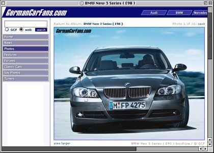 Internetseite GermanCarFans.com: Offizielle Werksfotos des 3er-BMW aus einem slowenischen Verkaufsprospekt schon im August