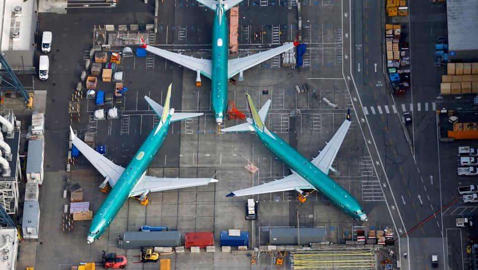 Boeing-737-Max-Flugzeuge vor Boeings Fabrik in Renton im US-Bundesstaat Washington