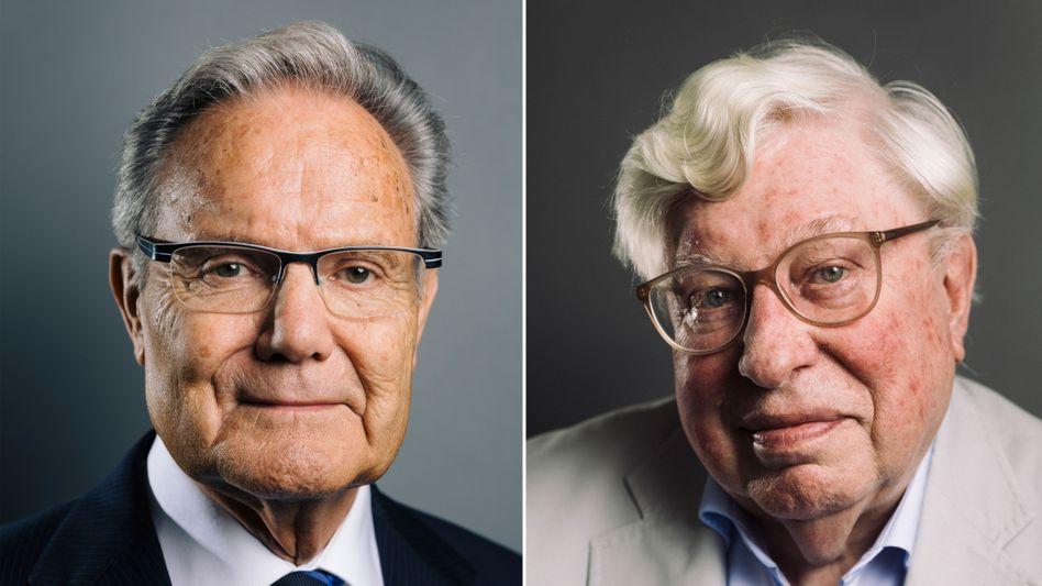 Manfred Weck, Ingenieur und emeritierter Hochschullehrer, und Gerhard Ertl, Forscher und Nobelpreisträger für Chemie