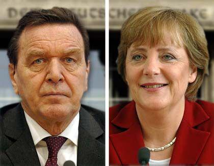 Blaupause für Wahlfeldzüge: Werber haben für mm die Markenprofile von Gerhard Schröder (SPD) und Angela Merkel (CDU) erstellt