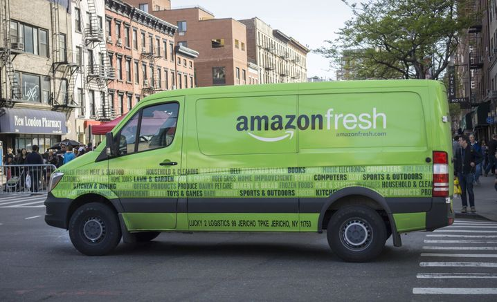 Amazon-Fresh-Lieferwagen vor der Krise in New York
