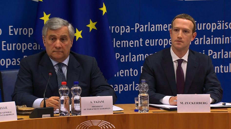 EU-Parlamentspräsident Antonio Tajani, Facebook-Chef Mark Zuckerberg