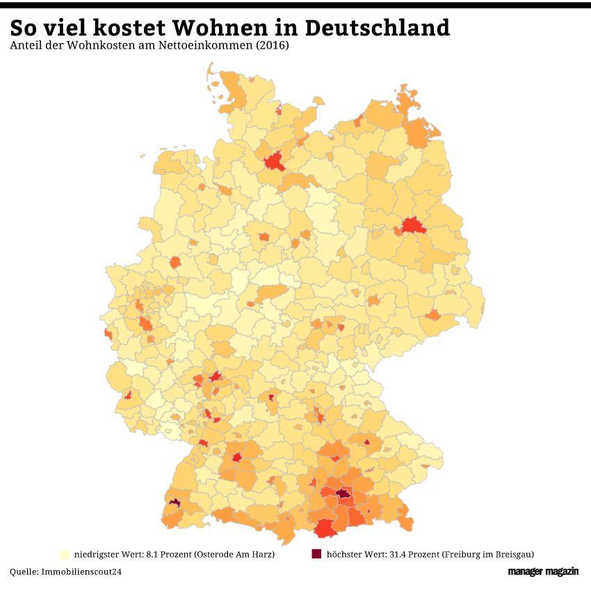 GRAFIK Wohnkosten Deutschland 2016