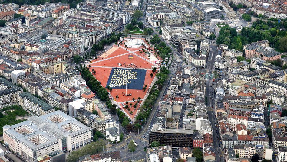 """Plakat in Genf: """"Wir wussten vorher, dass wir gewinnen werden - wenn auch nicht die Mehrheit"""""""