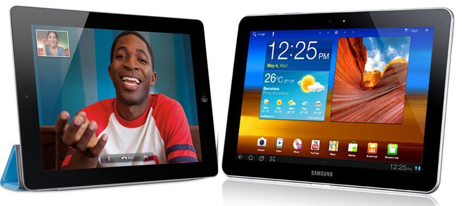 Who is who? Das Apple iPad 2 (links) im Vergleich zum Samsung Galaxy Tab 10.1 (rechts)