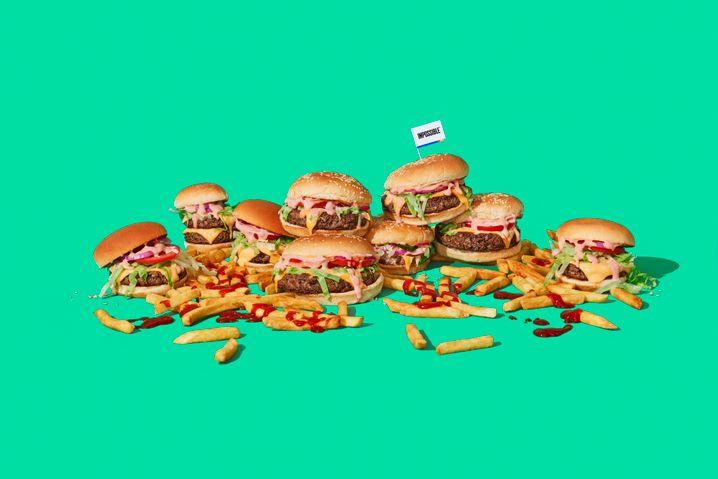 Burgermania: Vegetarischer Fleischersatz wie dieser Burger von Impossible Foods liegt schwer im Trend