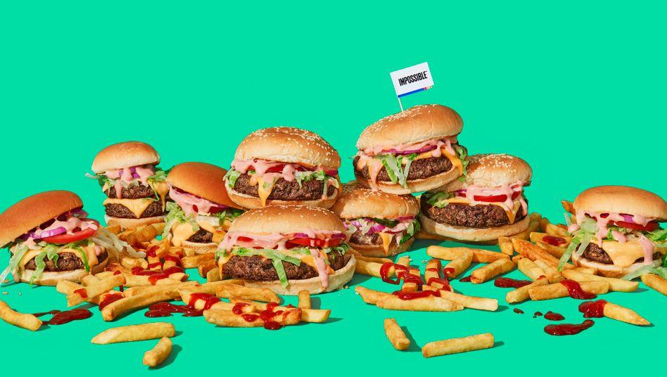 Burgermania: Vegane Burger wie dieser von Impossible Foods liegen derzeit schwer im Trend – und das Angebot wächst