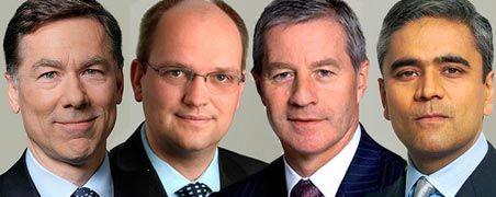 Bald im Vorstand der Deutschen Bank: Michael Cohrs, Rainer Neske, Jürgen Fitschen und Anshu Jain (von links)