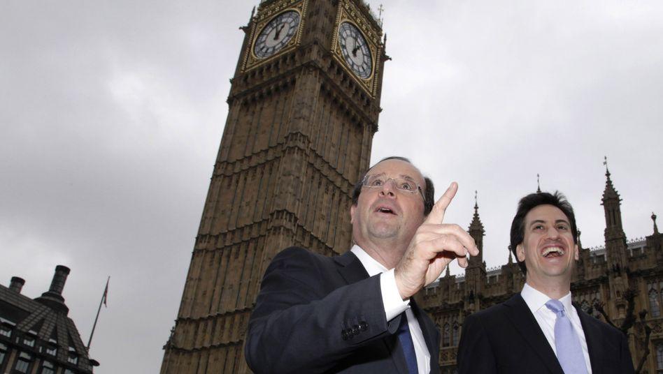 Hollande in London: Zehntausende Banker aus Frankreich arbeiten bereits dort. Es dürften noch mehr werden. Denn die Steuerbelastung ist nicht nur für Reiche sondern auch für Unternehmen geringer