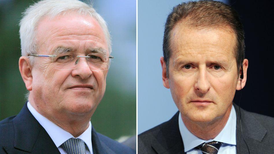 VW-Chef Herbert Diess (rechts), Ex-Chef Martin Winterkorn: Wer wusste wann Bescheid?