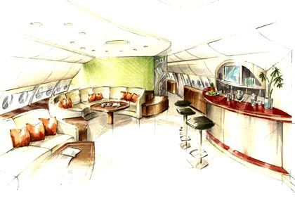 Whisky on the clouds: Bartresen und Sitzecken im neuen Edel-A380